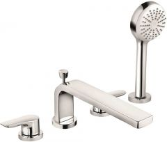 KLUDI PURE&SOLID 4-hole bath and shower mixer DN 15