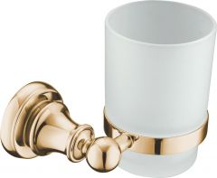 Brass tumbler holder with glass