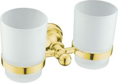 Brass double tumbler holders w/ glass
