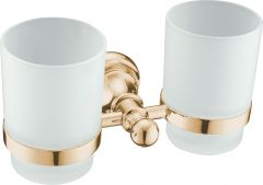 Brass double tumbler holders w/ glass
