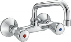 PREMIER dual controlled wall-mounted sink mixer with swivel spout